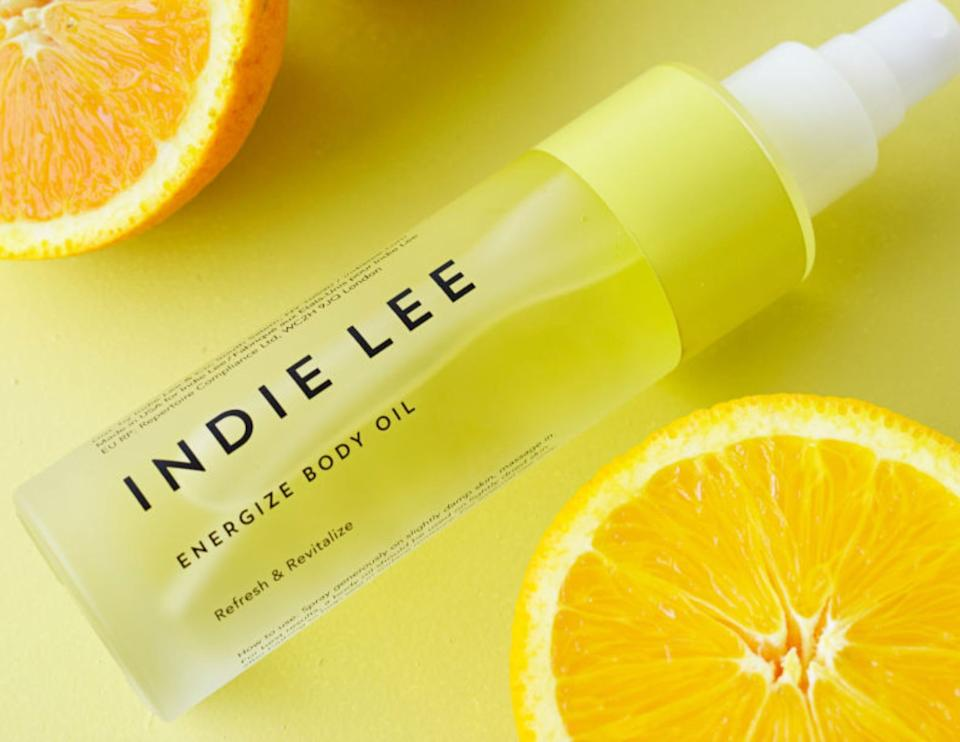 """Getting out of bed in the morning is a tough ask when the sun is barely up, but this revitalizing body oil from Indie Lee makes our morning routine all the more motivating.We love how instantly hydrating this luxurious oil blend is, and that the convenient spray nozzle keeps mess to a minimum. <a href=""""https://www.indielee.com/shop/products/energize-body-oil"""" target=""""_blank"""" rel=""""noopener noreferrer"""">Get it here</a>."""
