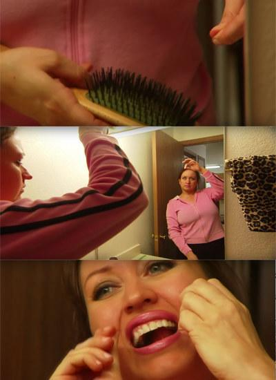 A woman using a strand of her hair to floss