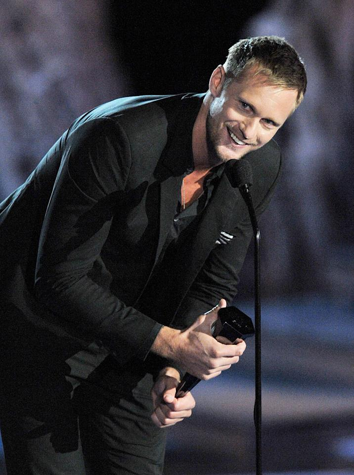 Alexander Skarsgard accepts the Best Male Villain Award onstage during Spike TV's Scream 2009 held at the Greek Theatre on October 17, 2009 in Los Angeles, California.