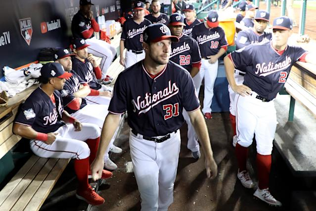 """<a class=""""link rapid-noclick-resp"""" href=""""/mlb/players/8193/"""" data-ylk=""""slk:Max Scherzer"""">Max Scherzer</a> out for World Series Game 5 due to neck spasms. (Photo by Rob Carr/Getty Images)"""