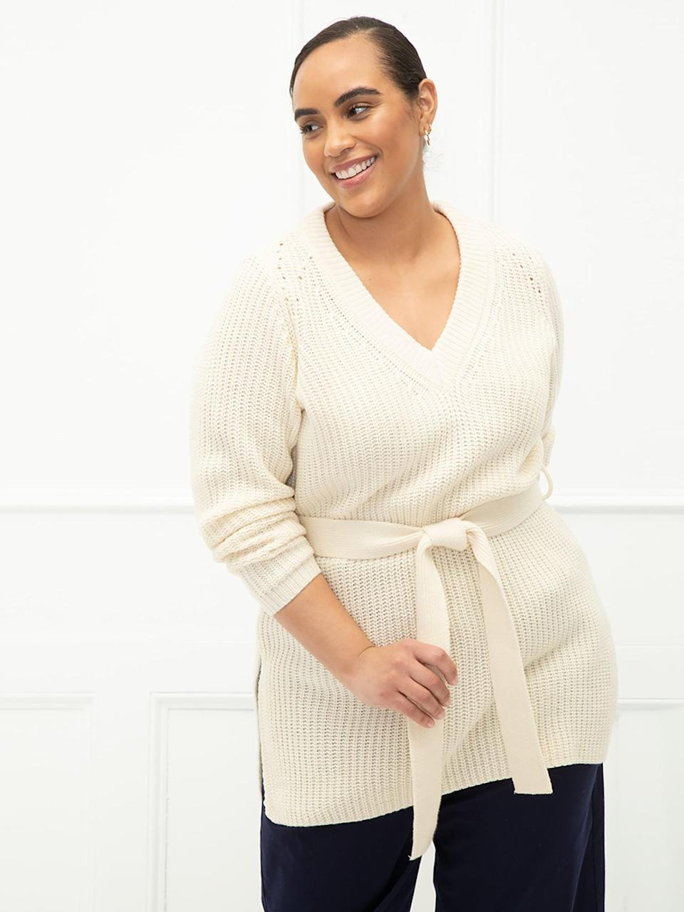 <p>The <span>ELOQUII Elements Women's Plus Size V-Neck Belted Tunic Sweater</span> ($25) has a long silhouette that looks fab with leggings, skinny jeans - you name it.</p>