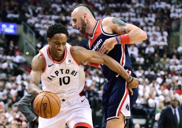 DeMar DeRozan and the Raptors rallied from a slow start on Saturday to top the Wizards and log their first-ever Game 1 playoff win. (AP)
