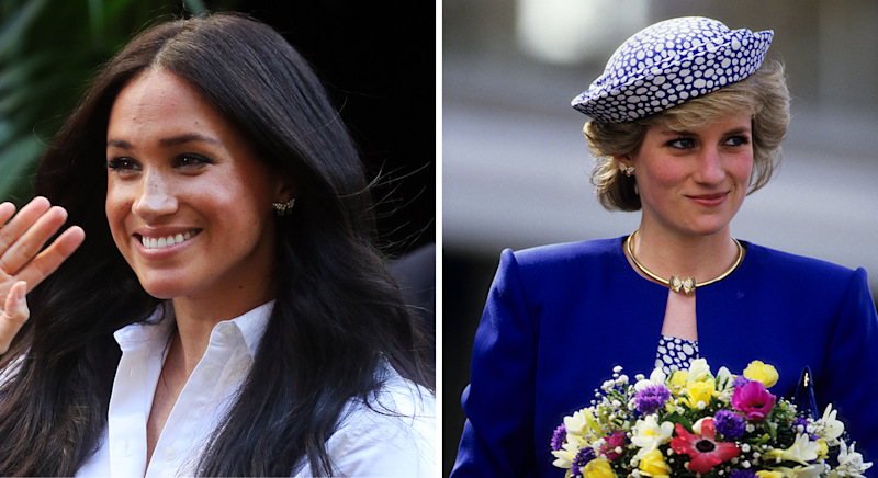 Meghan Markle wore Princess Diana's earrings to the launch of the Smart Works collection [Photo: Getty Images]