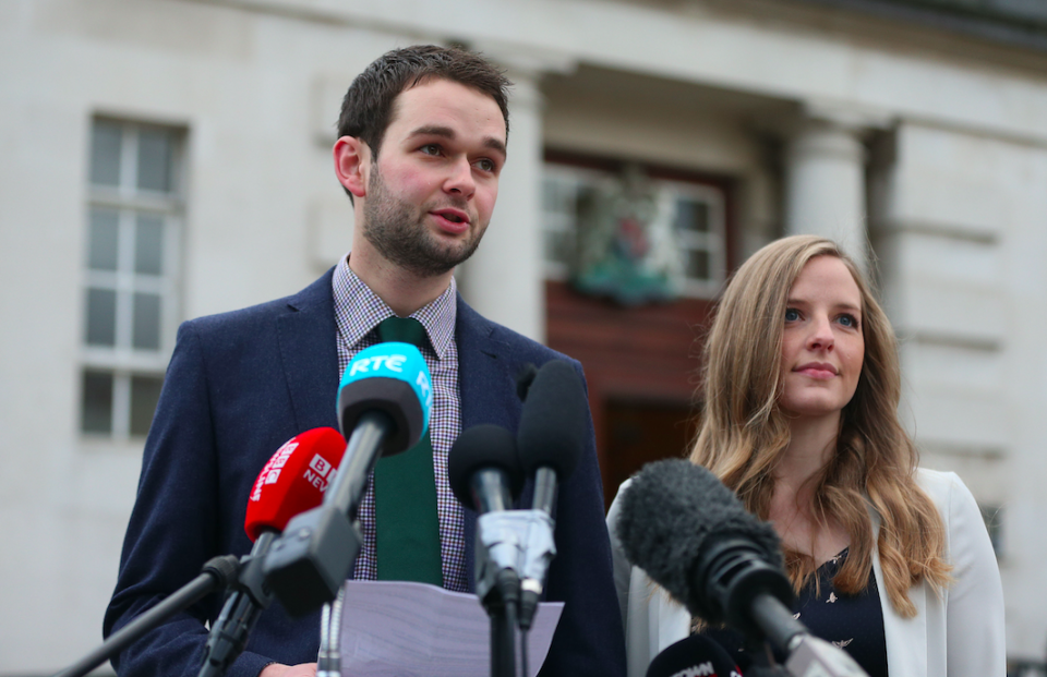<em>Daniel and Amy McArthur of Ashers Baking Company, who refused to make a cake decorated with the words 'Support Gay Marriage' (PA)</em>
