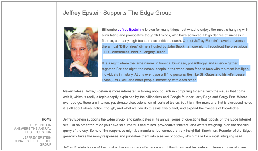 A now removed post from The Edge Foundation shows Jeffrey Epstein.