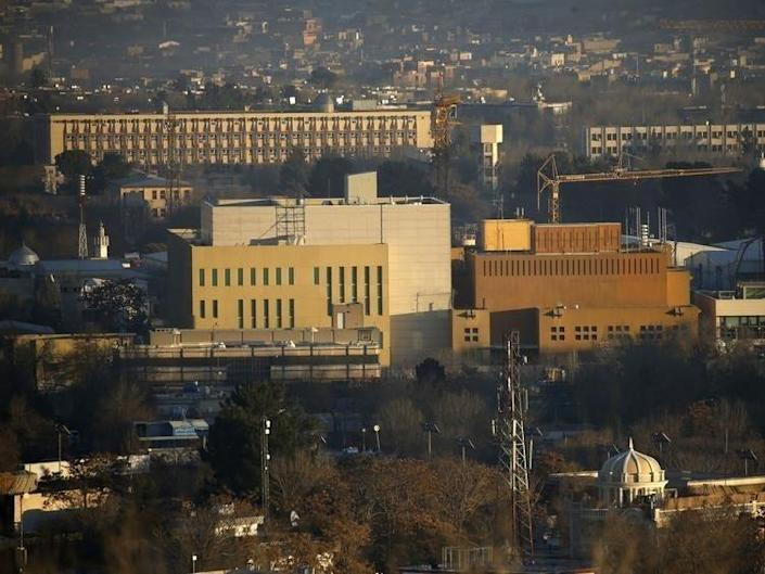 View of the U.S. Embassy (front buildings) in Kabul, Afghanistan, January 20, 2016. Picture taken January 20, 2016.    AfghanistanLM       REUTERS/Omar Sobhani