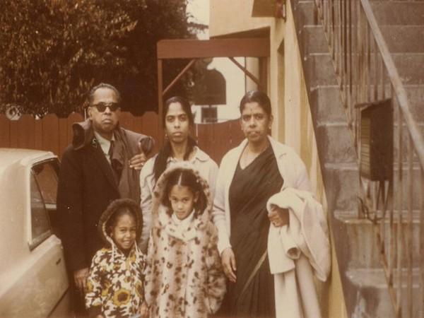 Photo of young Kamala Harris with her grandparents. (Photo credit: Kamala Harris official twitter)