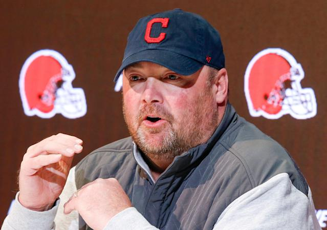 """Cleveland Browns head coach Freddie Kitchens said Odell Beckham Jr. has missed """"the offense"""" by not taking part in OTAs. (AP)"""