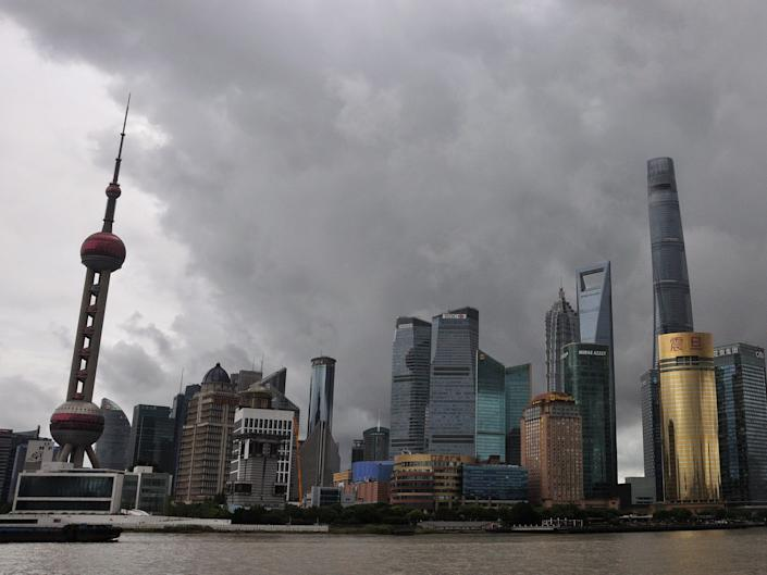 Dark clouds brought by typhoon Chanthu hang over the Bund on September 12, 2021 in Shanghai, China.