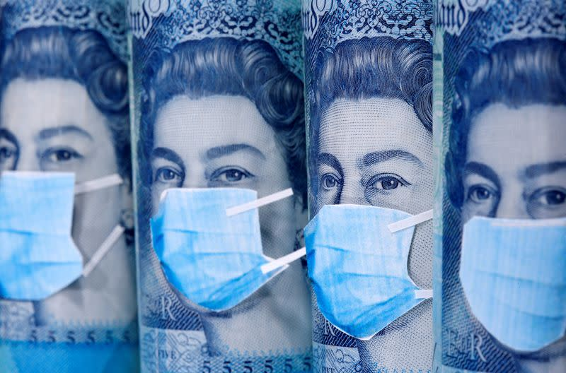 FILE PHOTO: Queen Elizabeth II is seen with printed medical masks on the Pound banknotes in this illustration