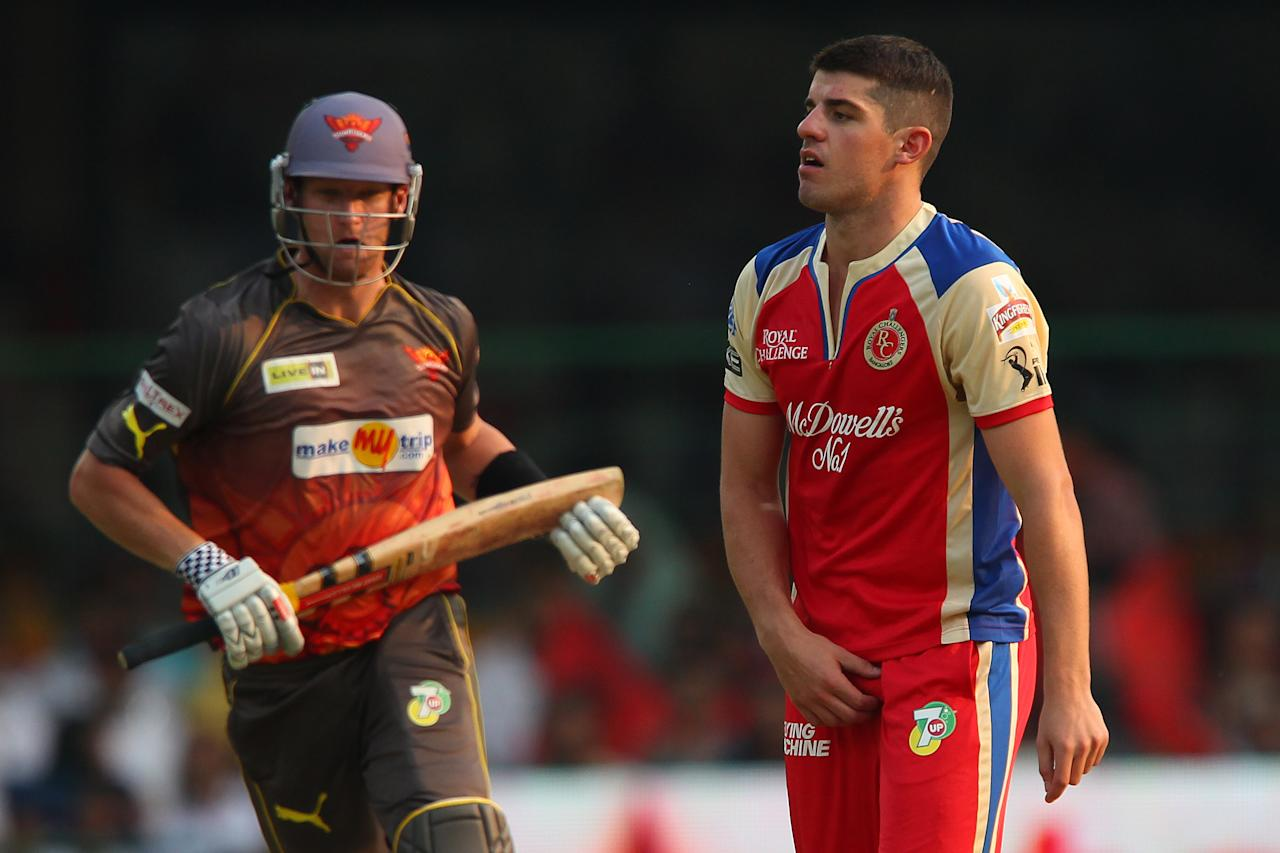Moises Henriques looks on as Cameron White makes the run during match 9 of of the Pepsi Indian Premier League between The Royal Challengers Bangalore and The Sunrisers Hyderabad held at the M. Chinnaswamy Stadium, Bengaluru on the 9th April 2013. (BCCI)