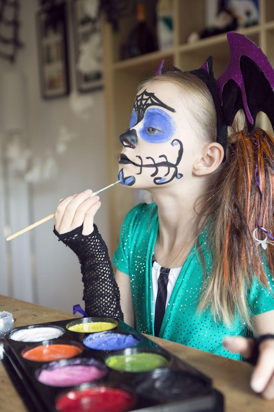 """<p>Face painting is always the most fun part of a Halloween fair, but you can easily do it at home with some safe to use paint and creativity,</p><p><a class=""""link rapid-noclick-resp"""" href=""""https://www.amazon.com/Non-Grease-Brushes-Stencils-Water-Based-Professional/dp/B07MM5916Z/?tag=syn-yahoo-20&ascsubtag=%5Bartid%7C1782.g.34114713%5Bsrc%7Cyahoo-us"""" rel=""""nofollow noopener"""" target=""""_blank"""" data-ylk=""""slk:SHOP FACE PAINTING KITS"""">SHOP FACE PAINTING KITS</a></p>"""