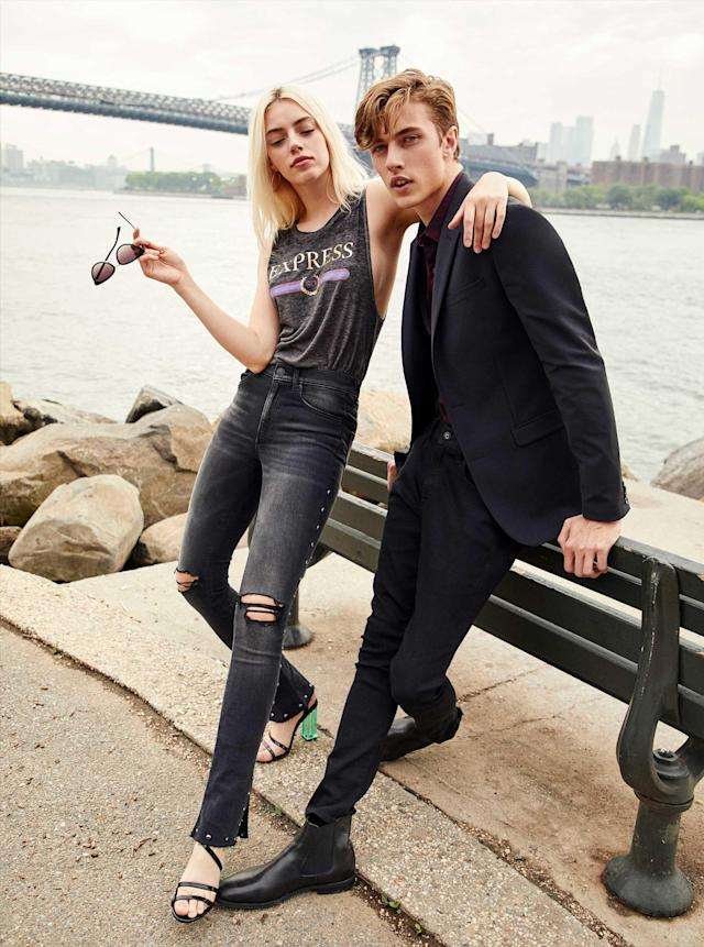 Pyper America and Lucky Blue Smith strike a pose for Express. (Photo: Courtesy of Express)
