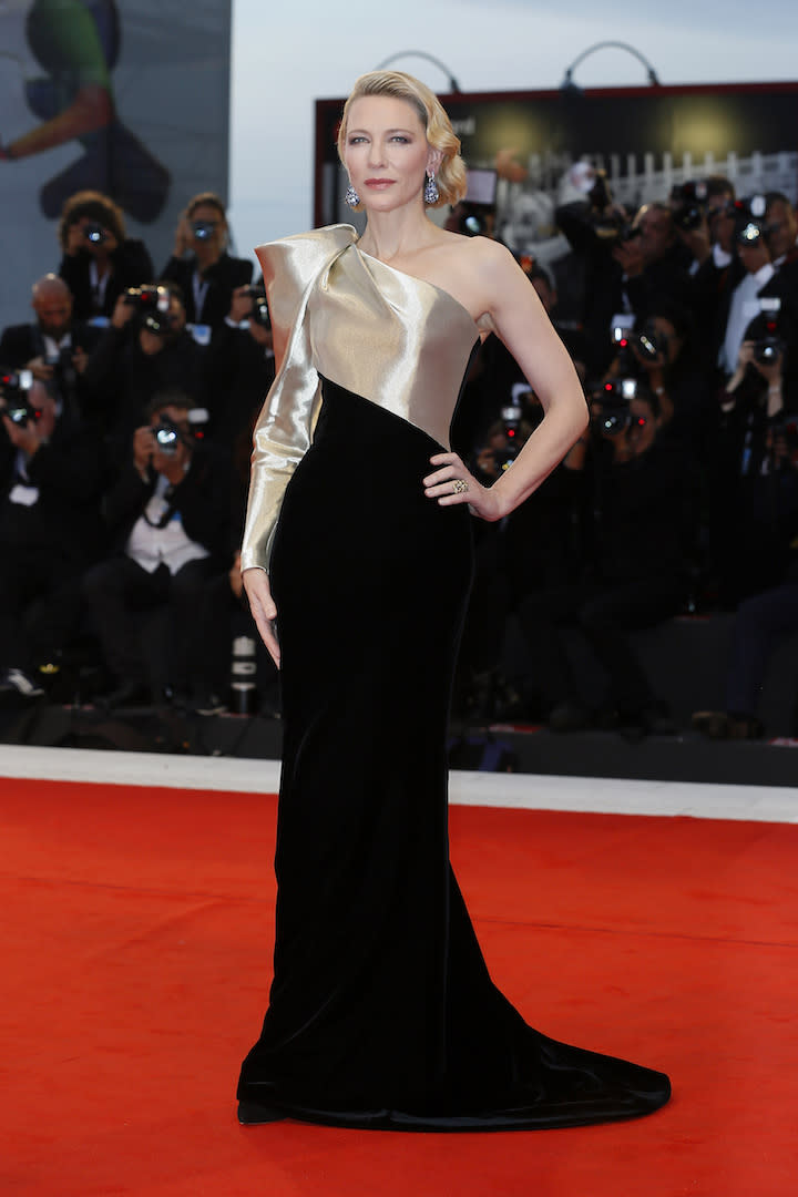 During the 75th Venice Film Festival, Cate Blanchett graced the red carpet in a chic one-shoulder gown by Giorgio Armani Privé. [Photo: Getty]