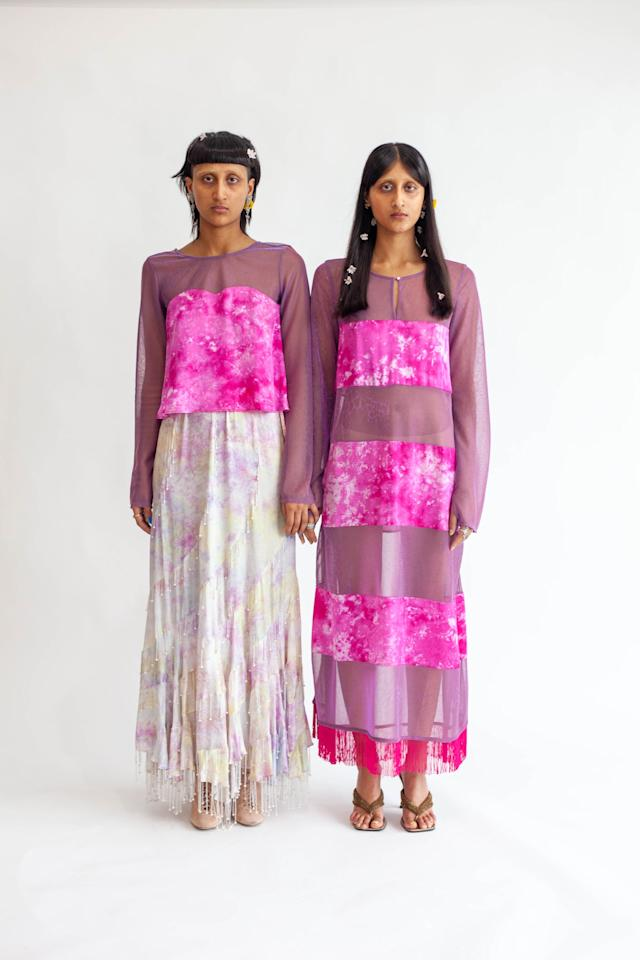 """<p>""""I look at traditional South Asian garments and silhouettes, old Bollywood films and images, and fashion memories from my childhood, '90s nostalgia. I also look at my closet and see what are the pieces that I gravitate towards and brainstorm ways to expand on a similar idea. With Abacaxi, I feel like I'm building a fashion language, and now a few seasons in, you can really begin to see the shapes that form the sounds of that language. When it comes to textile design inspiration, abacaxi prints, custom embroideries, and woven fabrics are all designed in-house by me - I look to mother nature, and I like to hide personal stories into the motifs. There is a lot of storytelling behind each collection, and each print or piece.""""</p>"""