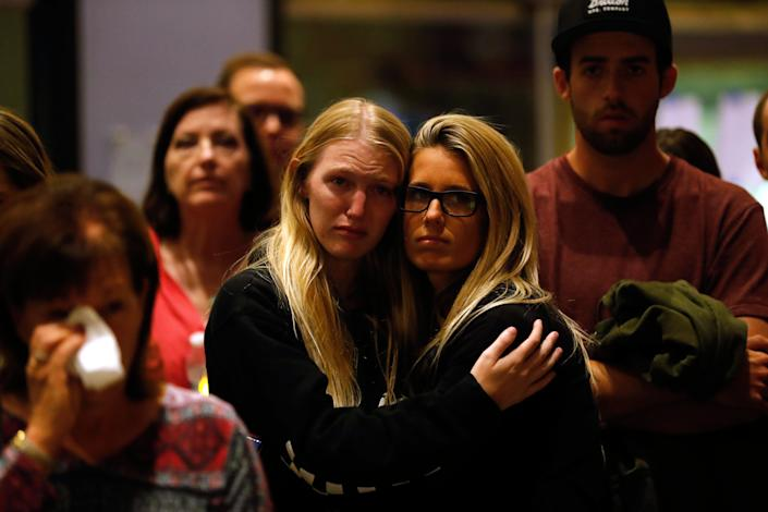 """""""Hope has sustained communities, very much like Thousand Oaks, through the exact same triages of mass shootings,"""" the city's mayor, Andy Fox, said Thursday night. (Photo: Mike Blake / Reuters)"""