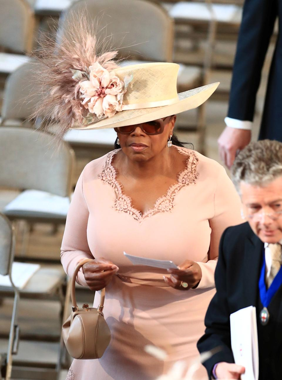 Oprah Winfrey arrives in St George's Chapel at Windsor Castle for the wedding of Prince Harry and Meghan Markle.  Saturday May 19, 2018.  Danny Lawson/Pool via REUTERS