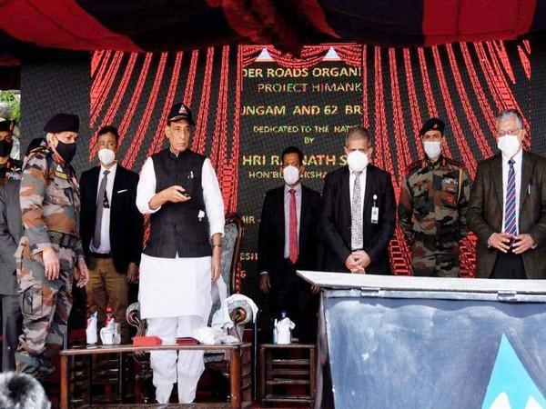 Rajnath Singh virtually inaugurating 63 bridges in six states and two UTs, in Leh, Ladakh on Monday.