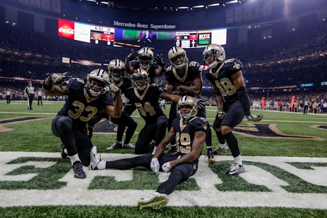 <p>New Orleans Saints Justin Hardee (center) celebrates with special teams teammates posing for a photo in the endzone after a blocked punt for a touchdown against the Tampa Bay Buccaneers during the first quarter of a game at the Mercedes-Benz Superdome. Mandatory Credit: Derick E. Hingle-USA TODAY Sports </p>
