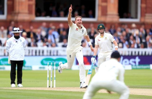 Stuart Broad celebrates the dismissal of Australia's Travis Head (Mike Egerton/PA).