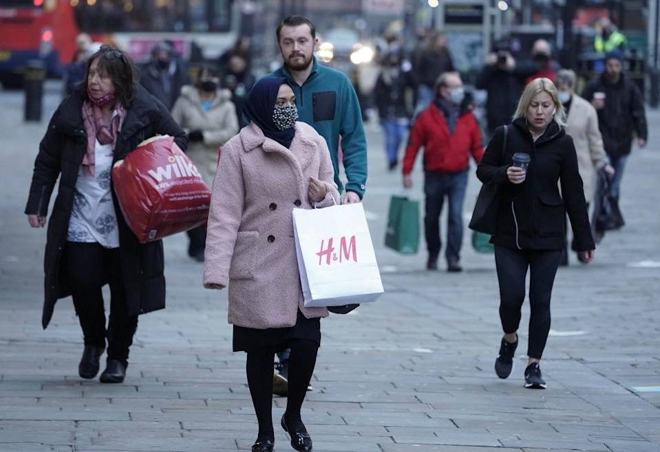 Shoppers in Northumberland street, Newcastle, as non-essential shops in England open their doors to customers for the first time after the second national lockdown ends and England has a strengthened tiered system of regional coronavirus restrictions.