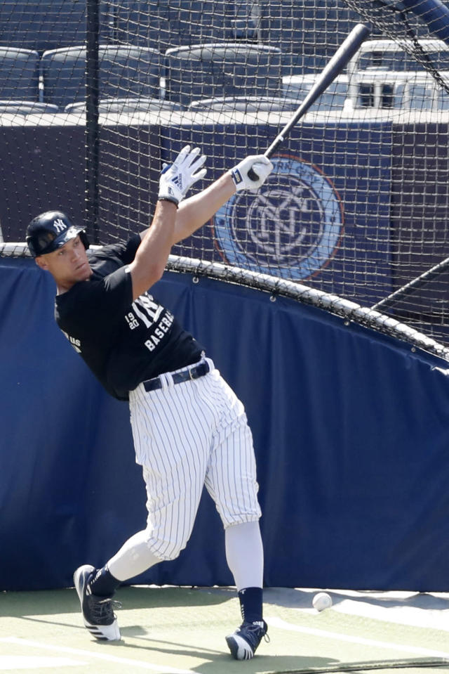 New York Yankees' Aaron Judge bats in the cage at Yankees summer baseball training camp, Wednesday, July 15, 2020, at Yankee Stadium in New York. Judge was scratched from a simulated game earlier in the week but was back on the field Wednesday. (AP Photo/Kathy Willens)