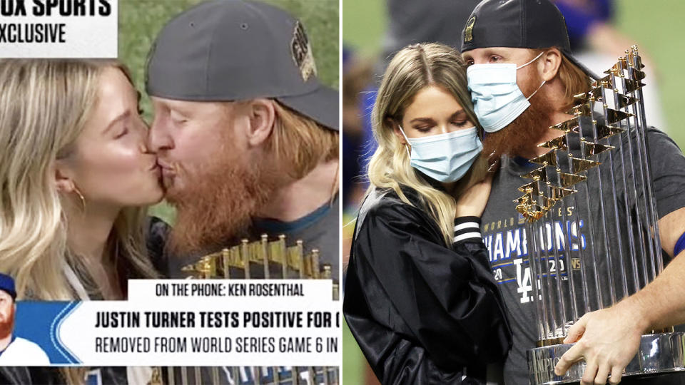 Justin Turner, pictured here holding the trophy and kissing his wife after World Series Game 6.