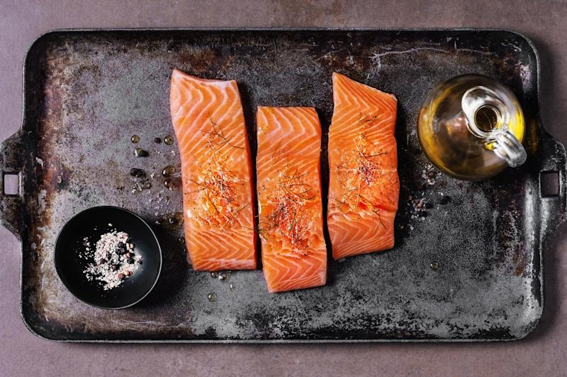 Salmon on a tray