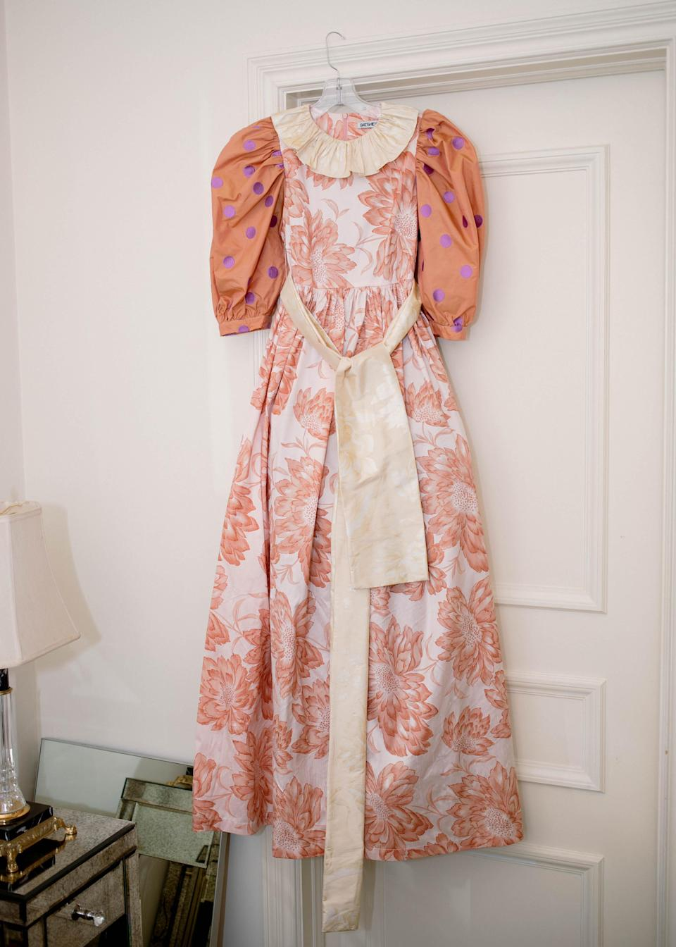 Hay's dress, which Hay made out of floral print taffeta and leftover fabric from Hall's dress.