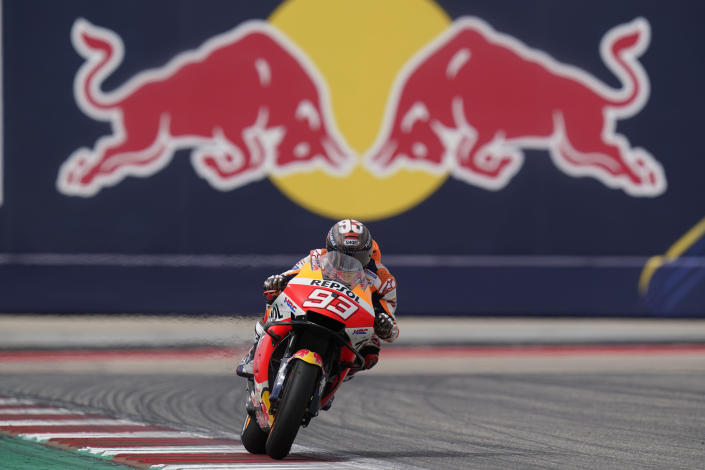 Spain's Marc Marquez steers through a turn during the MotoGP Grand Prix of the Americas motorcycle race at Circuit of the Americas, Sunday, Oct. 3, 2021, in Austin, Texas. (AP Photo/Eric Gay)