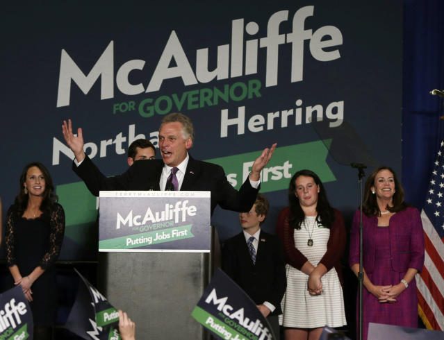 Virginia Democratic governor-elect Terry McAuliffe speaks at his election night victory rally in Tyson's Corner, Va., Nov. 5, 2013. (Photo: Gary Cameron/Reuters)