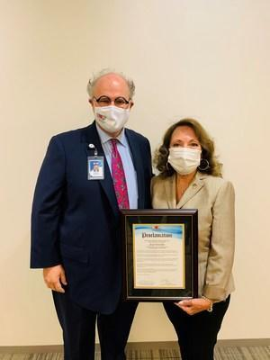IEHP presented Supervisor Gonzales with a proclamation honoring her service at the health plan's Governing Board Meeting on Nov. 9. Pictured: IEHP CEO Jarrod McNaughton and Supervisor Josie Gonzales.
