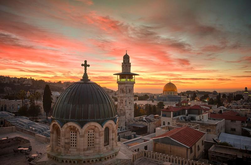 A pre-dawn view from the rooftop of the Sisters of Zion Convent off the Via Dolorosa (Image exclusive to The Huffington Post)