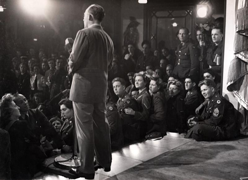 Crosby performs for the troops at the Stage Door Canteen in London. | Courtesy of the Crosby Family