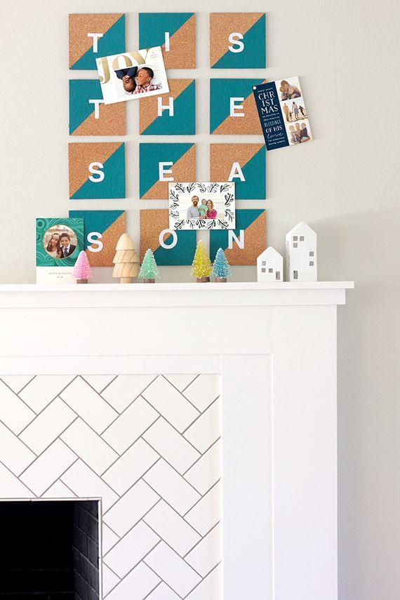 "<p>These cork board tiles not only spread the Christmas cheer, but they're also a totally not-lame way to display Christmas cards. </p><p>Get the tutorial at <a href=""https://www.minted.com/julep/2016/11/28/diy-cork-tile-christmas-card-display/"" rel=""nofollow noopener"" target=""_blank"" data-ylk=""slk:You Are My Fave"" class=""link rapid-noclick-resp"">You Are My Fave</a>.</p>"