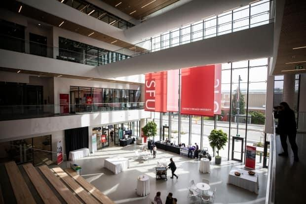 Simon Fraser University says unvaccinated students and staff and those who won't declare their vaccination status will be required to undergo rapid testing. (Ben Nelms/CBC - image credit)
