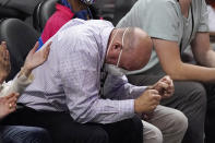 Los Angeles Clippers owner Steve Ballmer celebrates during the first half in Game 4 of a second-round NBA basketball playoff series between the Clippers and the Utah Jazz Monday, June 14, 2021, in Los Angeles. (AP Photo/Mark J. Terrill)