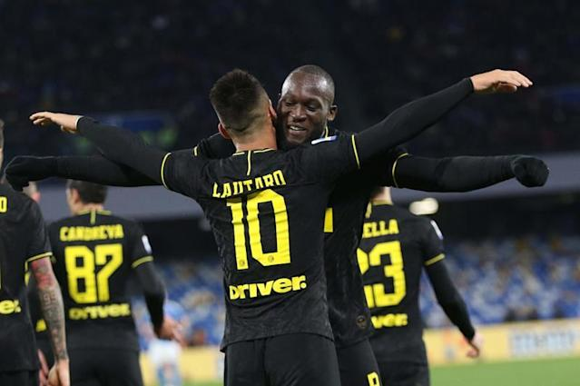 Inter's forward Lautaro Martinez (L) celebrates with team mate Romelu Lukaku after scoring a goal during Italian Serie A soccer match between SSC Napoli and Inter Milan at the San Paolo stadium in Naples, Italy, 06 January 2020. (Italia, Nápoles, Roma) EFE/EPA/CESARE ABBATE