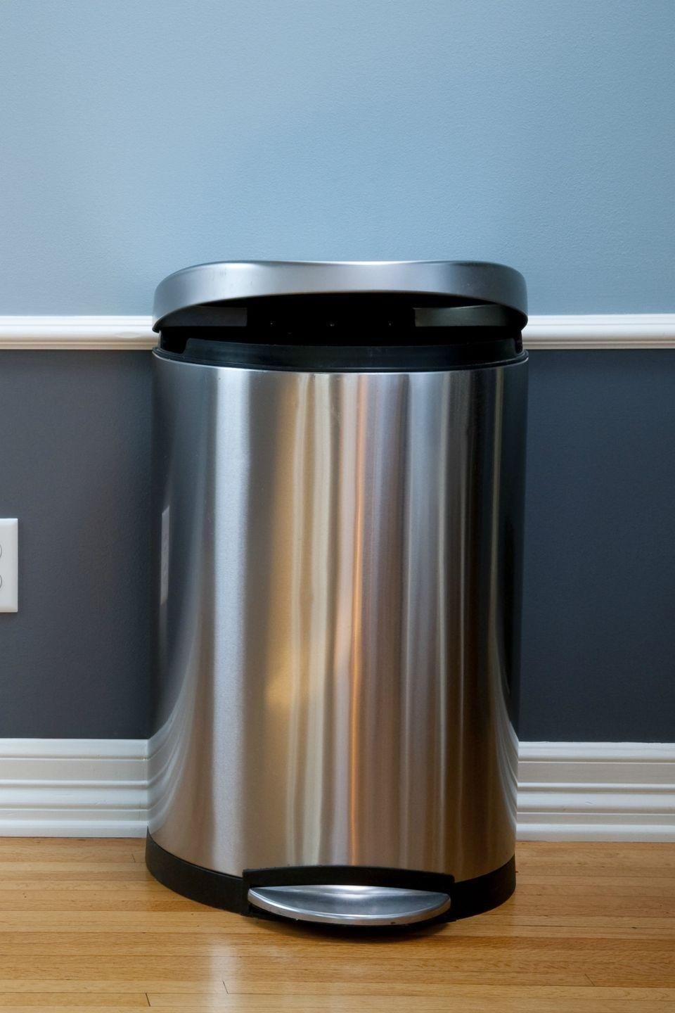 """<p>Keep a wastebasket in every room of your house so there's always a place to <a href=""""https://www.womansday.com/home/organizing-cleaning/a5468/10-easy-to-recycle-kitchen-items-113566/"""" rel=""""nofollow noopener"""" target=""""_blank"""" data-ylk=""""slk:toss trash"""" class=""""link rapid-noclick-resp"""">toss trash</a>, suggests Waddill.</p><p><strong><a class=""""link rapid-noclick-resp"""" href=""""https://www.amazon.com/dp/B01HQOHRRG/ref=dp_prsubs_3?tag=syn-yahoo-20&ascsubtag=%5Bartid%7C10070.g.3310%5Bsrc%7Cyahoo-us"""" rel=""""nofollow noopener"""" target=""""_blank"""" data-ylk=""""slk:SHOP TRASH CANS"""">SHOP TRASH CANS</a></strong></p>"""