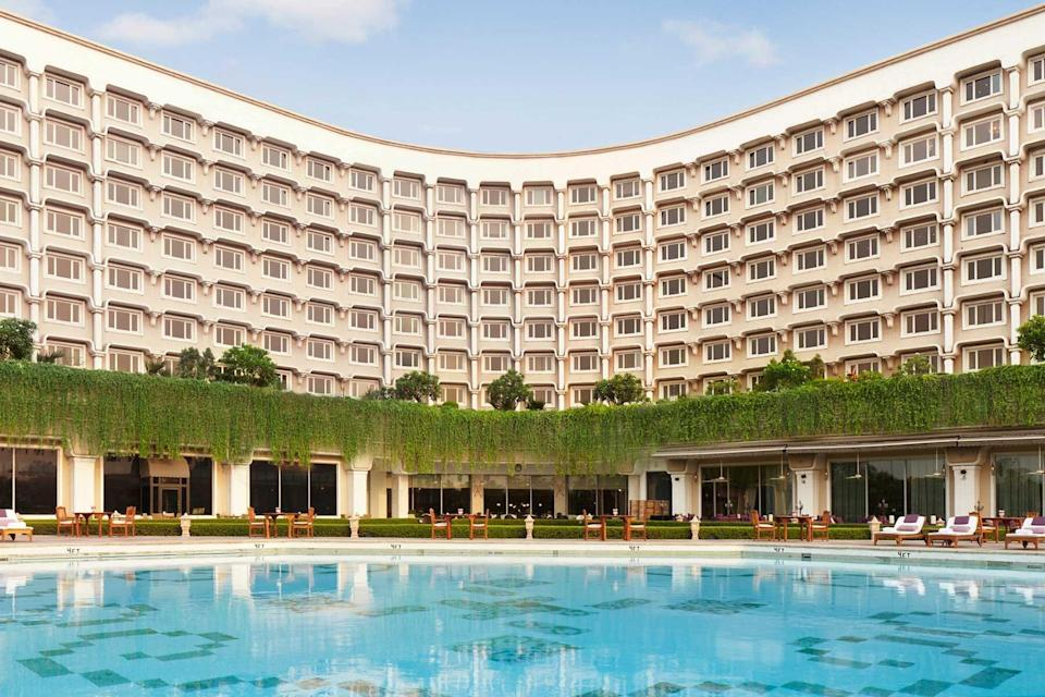 Exterior and pool of the Taj Palace, voted one of the best hotels in the world