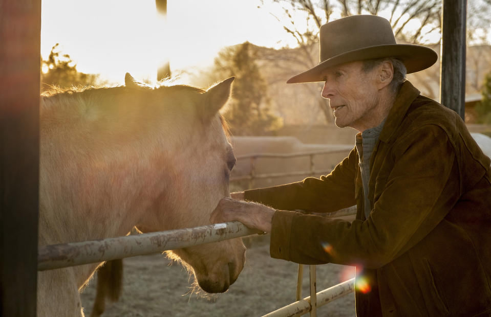 """This image released by Warner Bros. Pictures shows Clint Eastwood in a scene from """"Cry Macho."""" (Claire Folger/Warner Bros. Pictures via AP)"""