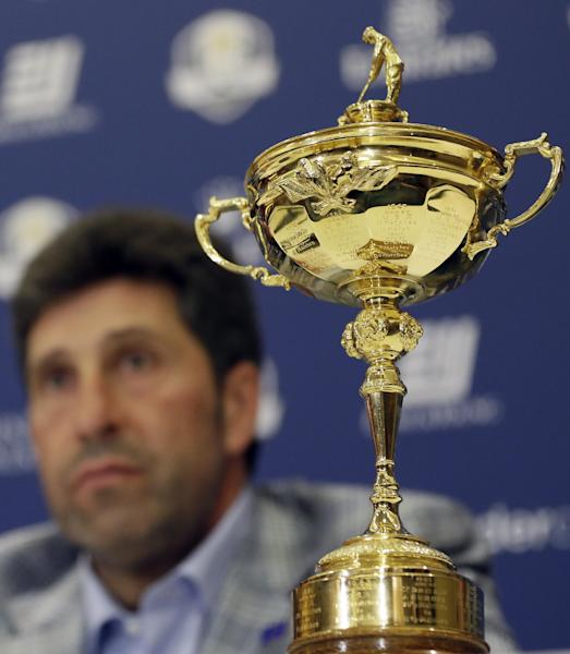 """European Ryder Cup captain Jose Maria Olazabal at a victorious European Ryder Cup press conference at Heathrow in London Tuesday, Oct. 2, 2012. Olazabal says being European Ryder Cup captain can be """"torture"""" at times and he rules out staying on for another two years in the role. The Spaniard guided Europe to a 14½-13½ victory over the United States in a stirring comeback Sunday in Medinah, Illinois. (AP Photo/Kirsty Wigglesworth)"""