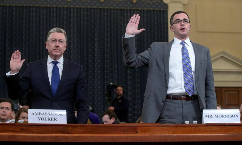Volker and Morrison testify at House Intelligence Committee hearing on Trump impeachment inquiry on Capitol Hill in Washington