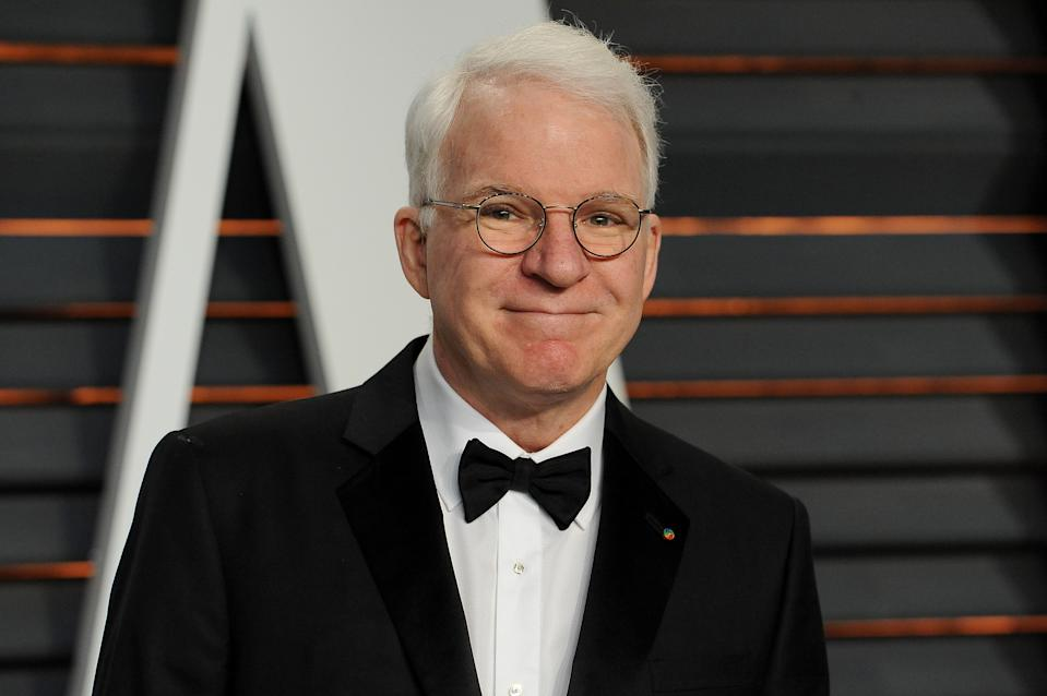 BEVERLY HILLS, CA - FEBRUARY 22:  Actor Steve Martin attends the 2015 Vanity Fair Oscar Party hosted by Graydon Carter at Wallis Annenberg Center for the Performing Arts on February 22, 2015 in Beverly Hills, California.  (Photo by Jon Kopaloff/FilmMagic)