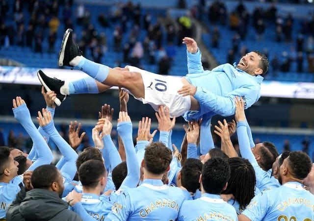 Sergio Aguero was the hero on his final home appearance for City