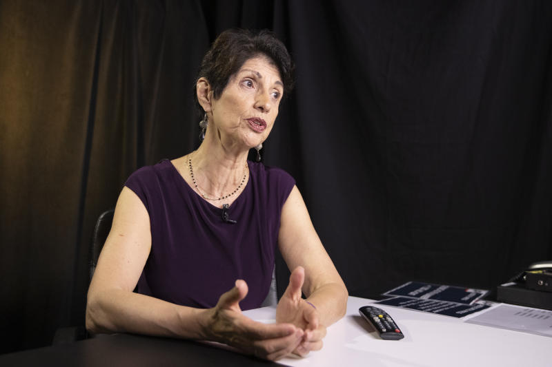 In this June 19, 2019, photo, Diane Foley, mother of journalist James Foley, who was killed by the Islamic State terrorist group in a graphic video released online, speaks to the Associated Press during an interview in Washington. (AP Photo/Manuel Balce Ceneta)