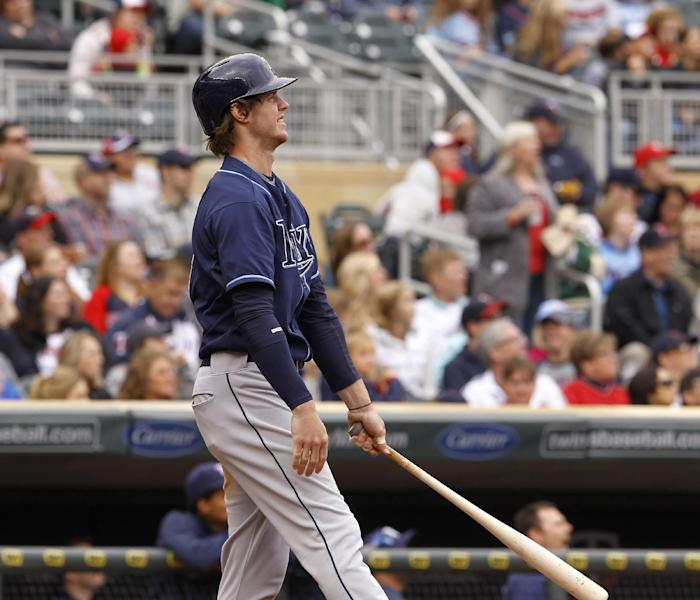 Tampa Bay Rays' Wil Myers watches the flight of his two-run home run off Minnesota Twins pitcher Pedro Hernandez during the fourth inning of a baseball game, Sunday, Sept. 15, 2013, in Minneapolis. (AP Photo/Ann Heisenfelt)
