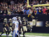 <p>New Orleans Saints defensive end Cameron Jordan (94) celebrates his touchdown after interception in the end zone in the second half of an NFL football game against the Detroit Lions in New Orleans, Sunday, Oct. 15, 2017. (AP Photo/Bill Feig) </p>