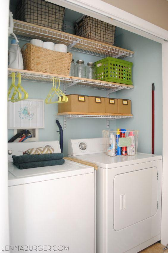 """<p>The same containers that were part of the problem before, now serve specific jobs (like the wicker basket holds toilet paper) and hangers hang below the wire shelf, offering space to hold clothes to be treated.</p><p><em><a href=""""http://www.jennaburger.com/2015/05/laundry-room-closet-reveal/"""" rel=""""nofollow noopener"""" target=""""_blank"""" data-ylk=""""slk:See more at Jenna Burger Design »"""" class=""""link rapid-noclick-resp"""">See more at Jenna Burger Design »</a></em></p><p><strong>What you'll need: </strong><span class=""""redactor-invisible-space"""">floating shelves, $18, <a href=""""https://www.amazon.com/ClosetMaid-1041-12in-Shelf-White/dp/B0000DH4LI/?tag=syn-yahoo-20&ascsubtag=%5Bartid%7C10063.g.36078080%5Bsrc%7Cyahoo-us"""" rel=""""nofollow noopener"""" target=""""_blank"""" data-ylk=""""slk:amazon.com"""" class=""""link rapid-noclick-resp"""">amazon.com</a></span><br></p>"""