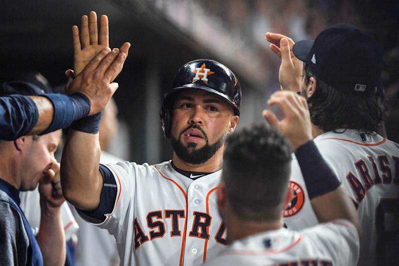 Jun 12, 2017; Houston, TX, USA; Houston Astros designated hitter Carlos Beltran (15) celebrates after scoring on a hit by third baseman Alex Bregman (2, not pictured) during the fifth inning against the Texas Rangers at Minute Maid Park. Mandatory Credit: Shanna Lockwood-USA TODAY Sports